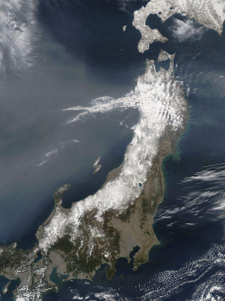 Coasta de N-V a Japoniei 13 martie 2011 - imagine satelit NASA